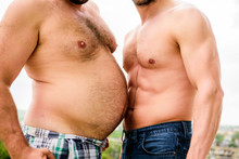 Turn Beer Belly Into Six Packs Abs In Easy Steps. Weight Loss. Sport Motivation. Get Ready Summer Body. Compare Fat And Six Packs Attractive Torso. Male Ugly Fat Belly And Strong Six Packs Muscles