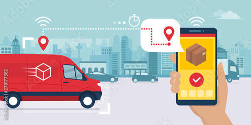 Fast delivery service app on smartphone