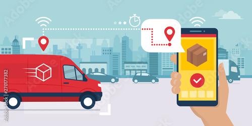 Fotografía Fast delivery service app on smartphone