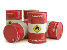 Flammable Substance Red Barrels With Flammable Symbol 3d Rendering
