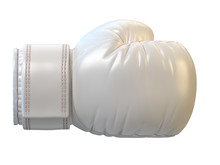 White Boxing Glove Isolated On White Background 3d Rendering