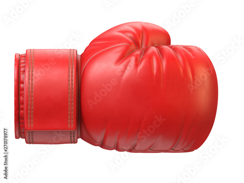 Red boxing glove isolated on white background 3d rendering Tapéta, Fotótapéta