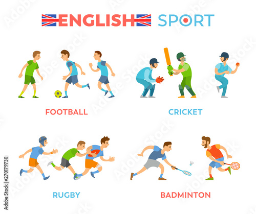 Fotografie, Obraz  English sport vector, boys playing together flat style