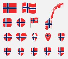 Norway Flag Icons Set, Nationa...