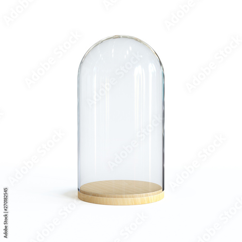 Fotomural Glass dome on the wooden tray, Glass bell isolated on white background 3d render