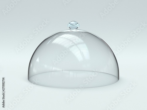 Foto Empty glass dome, transparent hemisphere cover 3d rendering