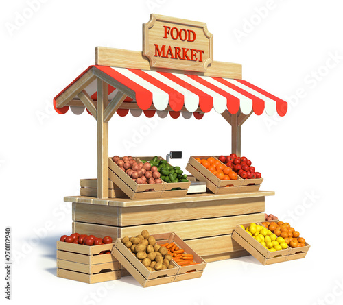 Stampa su Tela Food market kiosk, farmers shop, farm food stall