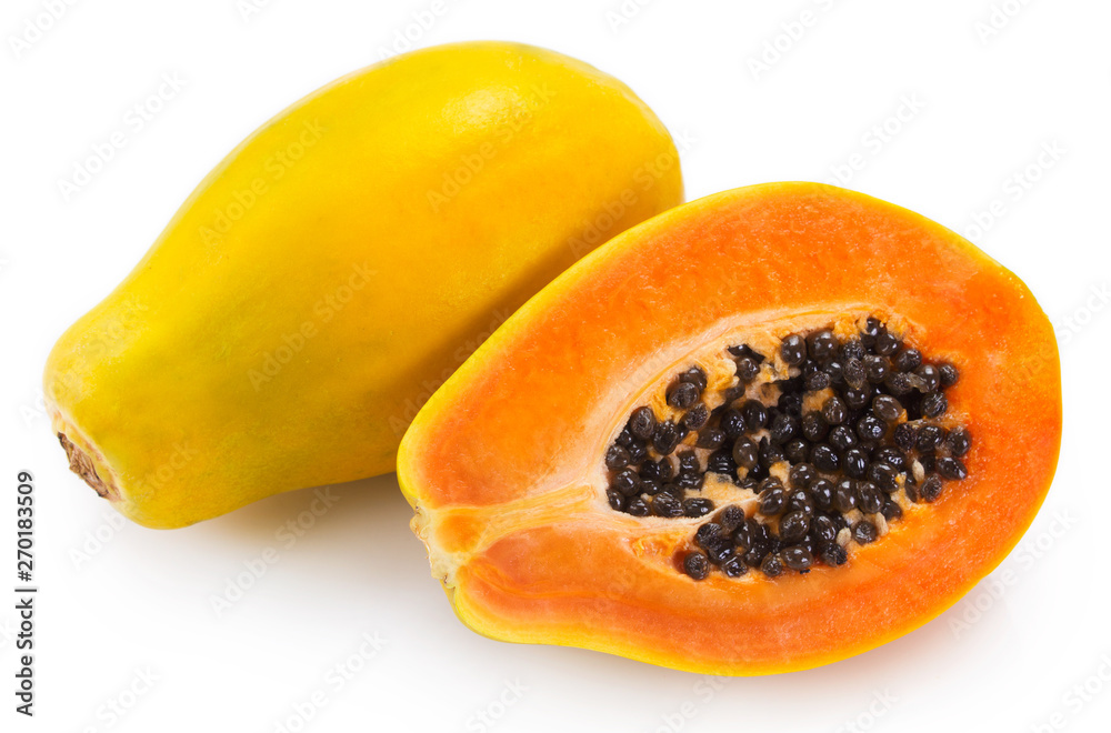Obraz Fresh papaya on white background fototapeta, plakat