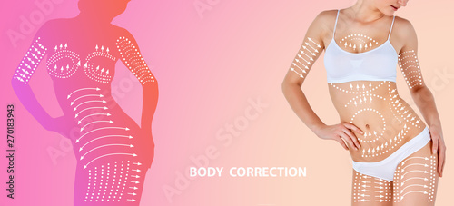 Beautiful female body isolated on multicolored background. Concept of bodycare and lifting, correction surgery, beauty and perfect skin, weight loss. Colorful flyer for your advertising.