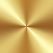 Gold Foil Texture Gradation Background. Vector Conical Shiny And Metalic Golden Gradient Design.