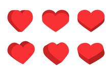 Red Isometric Hearts Icon Set, Love Symbol Vector Illustration