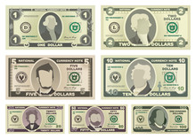 Vector Cartoon Dollar Banknotes Isolated On White Background Illustration. Every Denomination Of US Currency Note.
