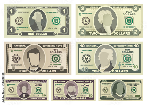 Photo Vector cartoon dollar banknotes isolated on white background illustration
