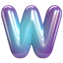 Round Purple And Blue Font, Balloon Like Letters And Numbers, 3d Rendering Letter W