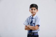 Cute Little Indian Indian / Asian School Boy Wearing Uniform