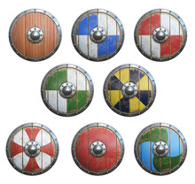Wooden Medieval Round Shield, Viking Shield Painted, Isolated On White Background, 3d Rendering