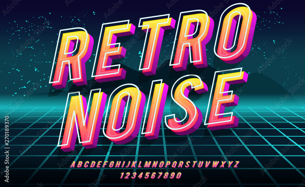 Fototapety, obrazy: Retro Noise. 3D bold font in 1980s style. Illustration of 1980 retro neon poster. Futuristic landscape.
