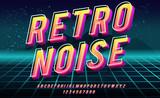 Hałas retro. Odważna czcionka 3D w stylu lat 80. Ilustracja 1980 neon retro plakat. Futurystyczny krajobraz.