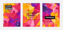 Vector Set Of Abstract Geometric Covers, Banners, Posters, Flyers, Brochures. Text Frame Surface. A4 Template Design. Title Sheet Model Set. 3d Polygonal, Facet