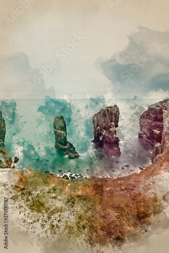 Poster Olive Watercolor painting of Beautiful sunset landscape image of Elegug Stacks on Pembrokeshire Coast in Wales