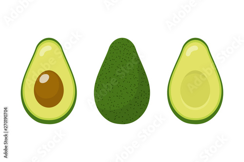 Valokuvatapetti Set of fresh whole and half avocado isolated on white background