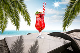 Table background of free space for your decoration and summer beach landscape  - 270191554
