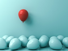 Stand Out From The Crowd And Different Creative Idea Concepts One Red Balloon Floating Above Other Blue Balloons Over Green Blue Pastel Color Wall Background With Reflections And Shadows 3D Rendering