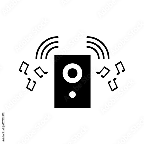 Fototapety, obrazy: Black silhouette of music speaker. Simple icon. Holiday decorative element. Vector illustration for design.
