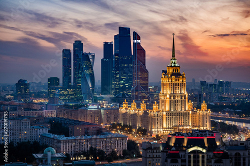 Photo Aerial View of Moscow City Skyline at Sunset, Moscow, Russia