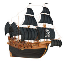 Old Sailing Pirate Ship With Black Sails And A Skull With Daggers. 3d Illustration