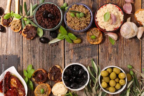 assorted of mixed tapenade, mediteraneean appetizer Fototapete