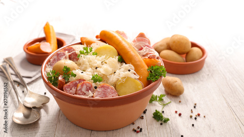 alsace traditional meal, Sauerkraut with potato and meat Wallpaper Mural