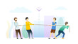 Competition between people flat illustration. Men pulling rope, tug of war game. Boys competing, choosing stronger person. Accepting challenge, testing strength, skills, competencies metaphor.