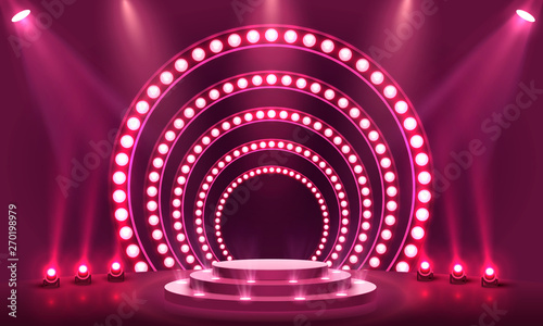 Obraz Stage Podium Scene with for Award Ceremony - fototapety do salonu