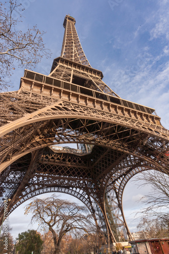 Fototapety, obrazy: Detail view of the famous Eiffel Tower in Paris. France