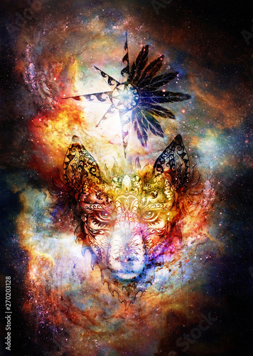 ornamental painting of wolf, sacred animal and ornamental star with feathers in cosmic space Wallpaper Mural
