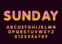 Donut Cartoon Sunday Biscuit Bold Font Style