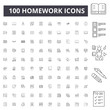 Homework line icons, signs, vector set, outline concept illustration