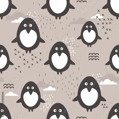 Seamless pattern, cute penguins, hand drawn overlapping backdrop. Colorful background vector with animals. Design illustration. Decorative wallpaper, good for printing