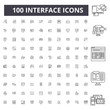 Interface line icons, signs, vector set, outline concept illustration