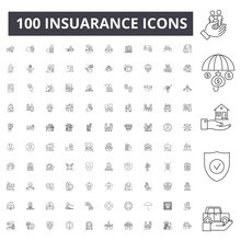 Insuarance Line Icons, Signs, Vector Set, Outline Concept Illustration