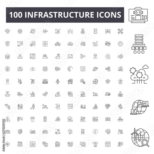 Infrastructure line icons, signs, vector set, outline concept illustration