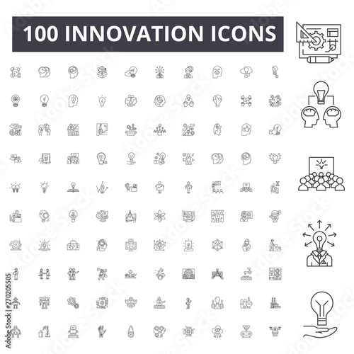 Fotografía  Innovation line icons, signs, vector set, outline concept illustration