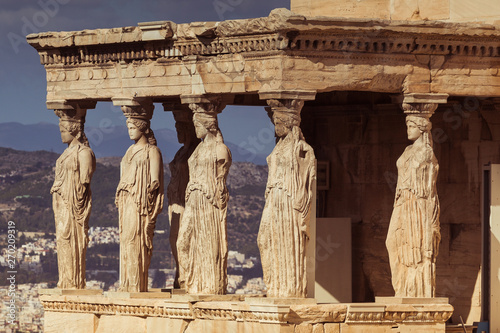 Tuinposter Athene Detail of the Loggia of the Caryatids in the Erechtheum, Acropolis, Athens