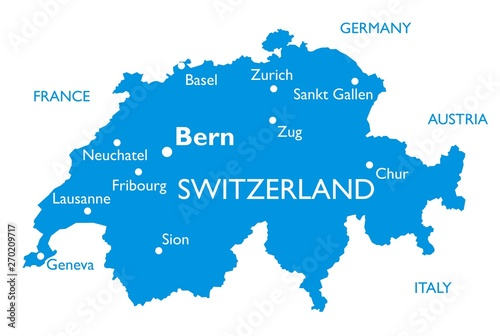 Vector map of Switzerland | Outline detailed map with city names Billede på lærred