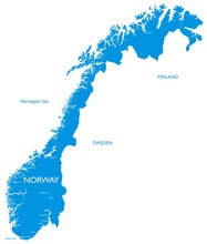 Vector Map Of Norway | Outline Detailed Map With City Names
