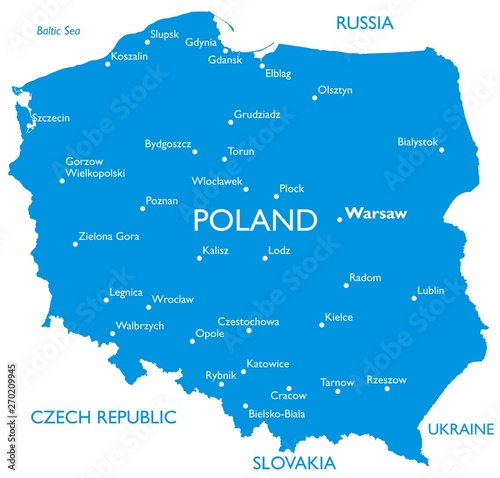 Cuadros en Lienzo Vector map of Poland | Outline detailed map with city names
