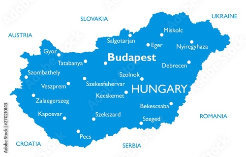 Fotografie, Obraz Vector map of Hungary | Outline detailed map with city names