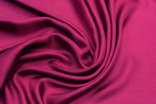 Cherry Twill Silk Fabric In Artistic Layout. Texture, Background, Pattern.