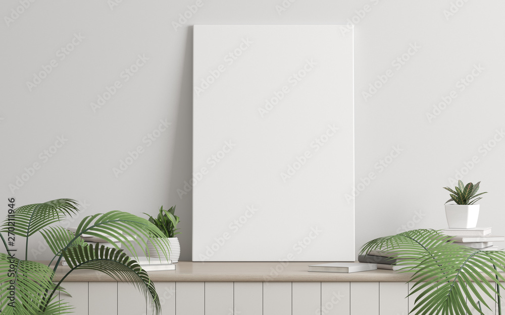 Fototapeta Mock-up of picture canvas frame with small plant in vase and books on white wall. Perspective of modern Interior design. 3d rendering.